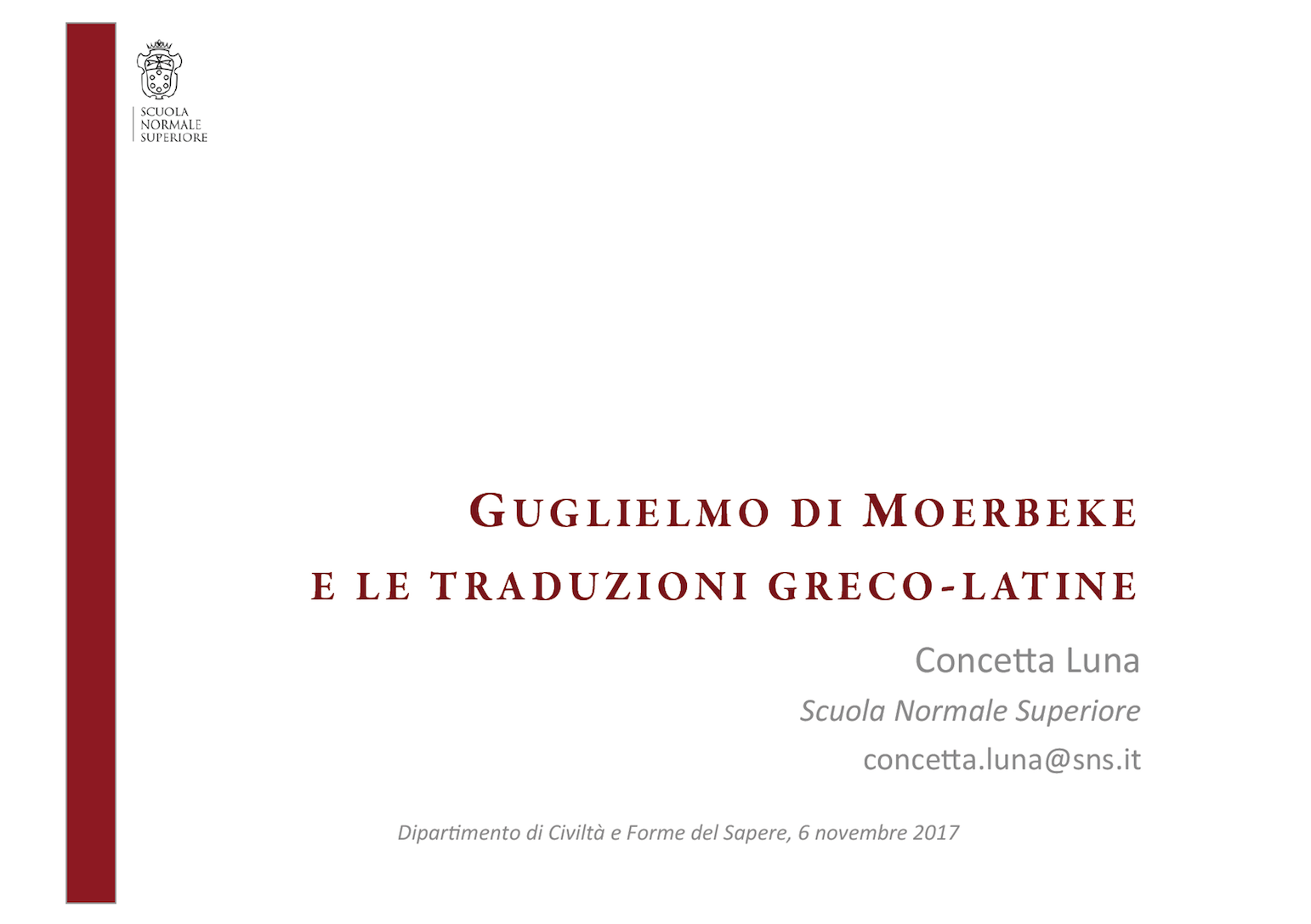 A lecture by Concetta Luna
